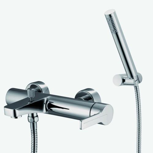 Смеситель для ванны наружного монтажа с колонной, верхним душем и душевым комплектом Fima Matrix F3534