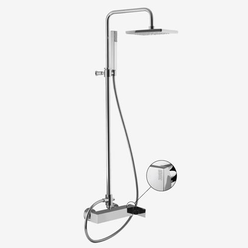 Смеситель для ванны наружного монтажа с колонной, верхним душем и душевым комплектом Fima Brick Chic F3504/2C
