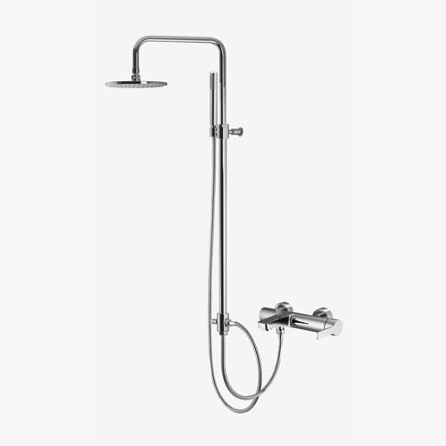 Смеситель для ванны наружного монтажа с колонной, верхним душем и душевым комплектом Fima Matrix F596839